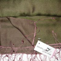 Khaki & Plum Watersilk Wedding Pashmina P44
